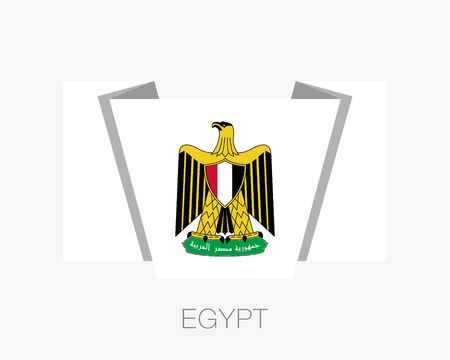 Egypt. Coat of Arms. Flat Icon Waving Flag with Country Name on White Background