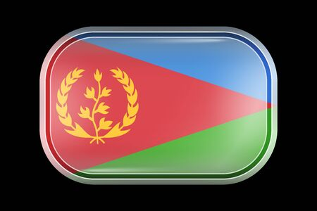 Flag of Eritrea. Matted Vector Icon. Vector Rectangular Shape with Rounded Corners Иллюстрация