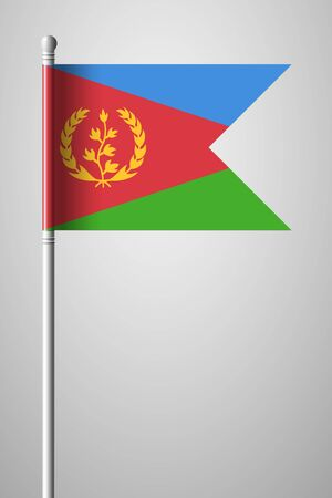 Flag of Eritrea. National Flag on Flagpole. Isolated Illustration on Gray Background