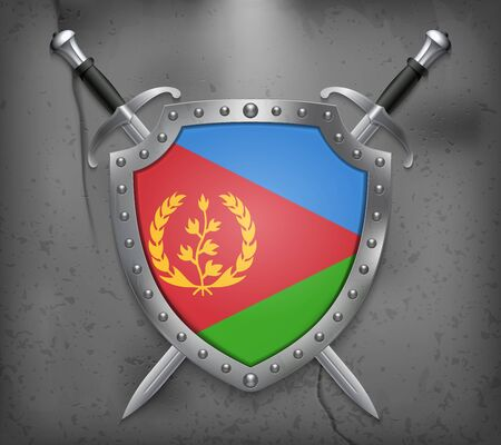 Flag of Eritrea. The Shield with National Flag. Two Crossed Swords. Vector Medieval Background