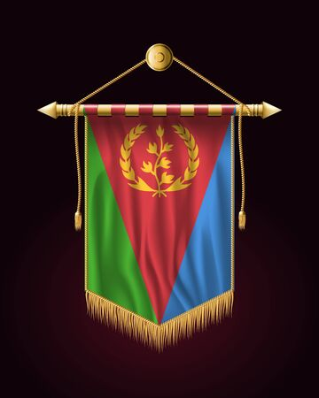 Flag of Eritrea. Festive Vertical Banner. Wall Hangings with Gold Tassel Fringing Иллюстрация