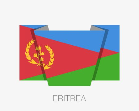 Flag of Eritrea. Flat Icon Waving Flag with Country Name on White Background