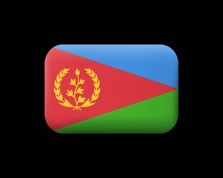 Flag of Eritrea. Matted Vector Icon and Button. Rectangular Shape with Rounded Corners. Isolated Иллюстрация