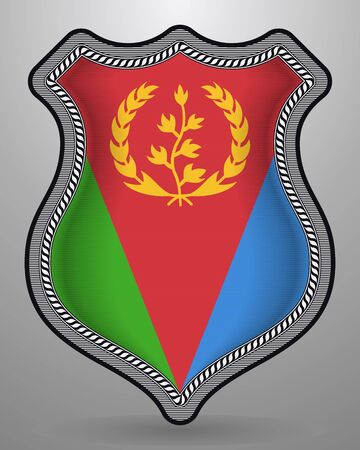 Flag of Eritrea. Vector Badge and Icon. Vertical Orientation Version. Isolated