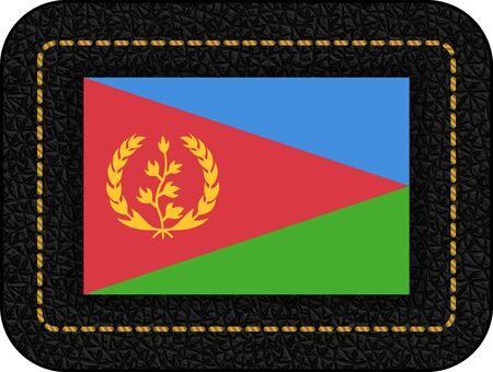 Flag of Eritrea. Vector Icon on Black Leather Backdrop. Aspect Ratio 2:3
