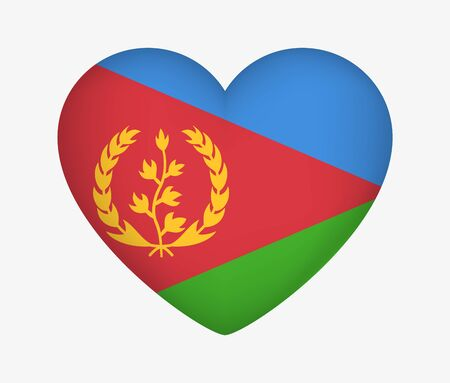 Heart Shaped National Flag of Eritrea. I Love My Country. Vector Isolated Illustration Иллюстрация