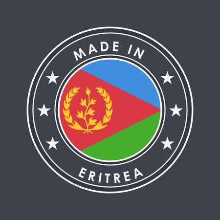 Flag of Eritrea. Round Label with Country Name for Unique National Goods. Vector Isolated Иллюстрация