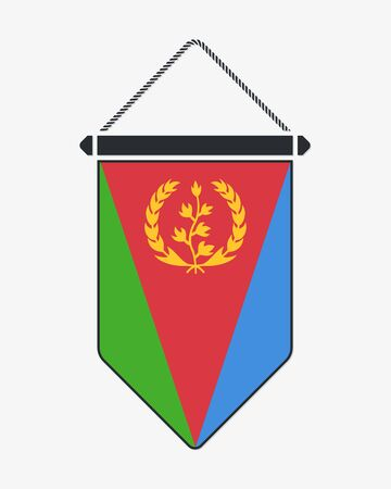 Flag of Eritrea. Vector Sign and Icon. Vertical Pennant. Vector Isolated
