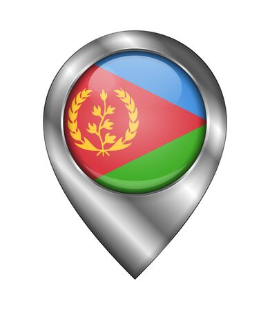 Flag of Eritrea. Vector Sign and Icon. Location Symbol Shape. Silver. Isolated