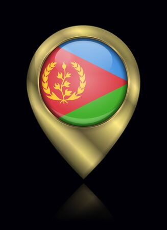 Flag of Eritrea. Vector Sign and Icon. Location Symbol Shape. Gold Isolated