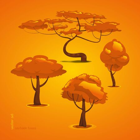 Set of Trees. Vector Tree Isolated. Funny Cartoon Forest Tree Çizim