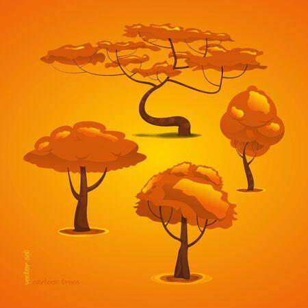 Set of Trees. Vector Tree Isolated. Funny Cartoon Forest Tree Illusztráció
