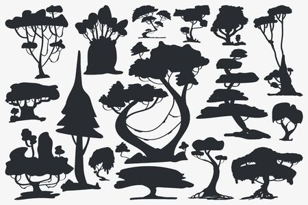 Tree Silhouette. Set of Trees. Vector Isolated Silhouette on White Background Çizim