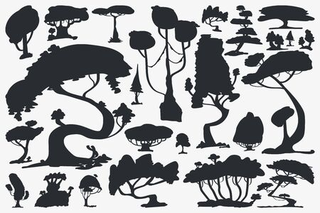 Tree Silhouette. Set of Trees. Vector Isolated Silhouette on White Background Ilustracja