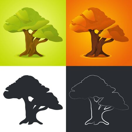 Vector Tree. Tree Silhouette Outline and Colorful Version. Isolated Image for Seasons