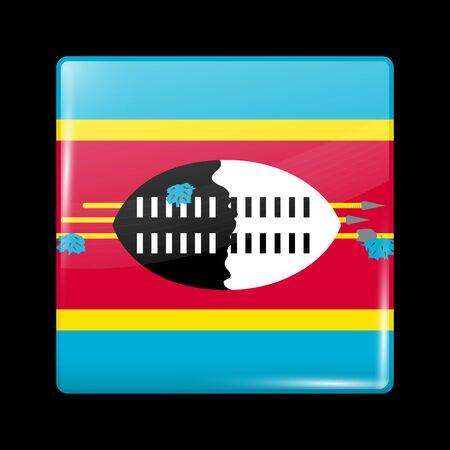 Flag of Eswatini. Glossy Icon Square Shape. Vector Button Иллюстрация