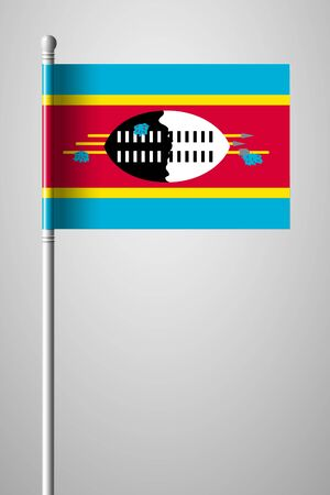 Flag of Eswatini. National Flag on Flagpole. Isolated Illustration on Gray Background