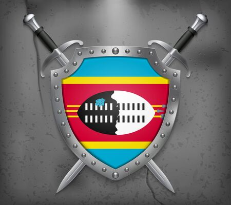 Flag of Eswatini. The Shield with National Flag. Two Crossed Swords. Vector Medieval Background