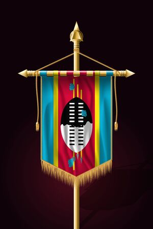 Flag of Eswatini. Festive Vertical Banner. Wall Hangings with Gold Tassel Fringing