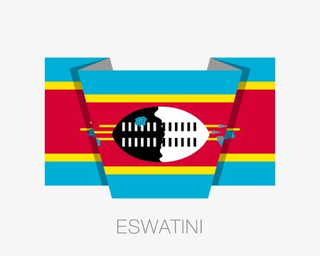 Flag of Eswatini. Flat Icon Waving Flag with Country Name on White Background
