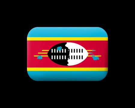 Flag of Eswatini. Matted Vector Icon and Button. Rectangular Shape with Rounded Corners. Isolated Иллюстрация