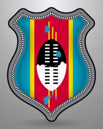 Flag of Eswatini. Vector Badge and Icon. Vertical Orientation Version. Isolated Ilustracja