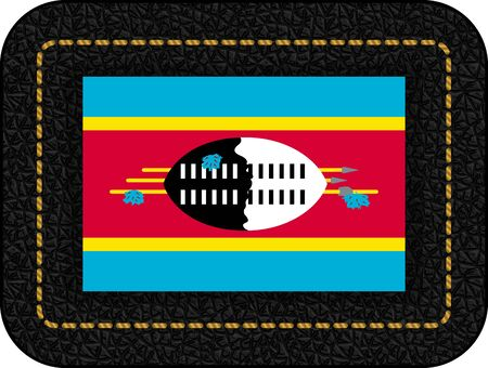 Flag of Eswatini. Vector Icon on Black Leather Backdrop.