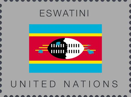 Flag of Eswatini. Vector Sign and Icon. Postage Stamp. Isolated Çizim
