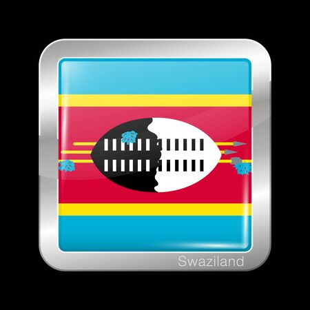 Flag of Swaziland. eSwatini. Glossy and Metal Icon Square Shape. Vector Button Çizim
