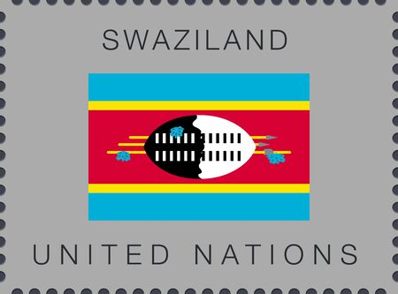 Flag of Swaziland. eSwatini. Vector Sign and Icon. Postage Stamp. Isolated