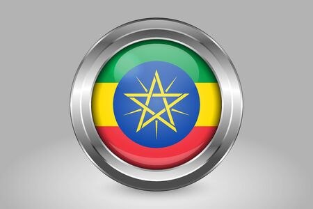 Flag of Ethiopia. Metal and Glass Round Vector Icon. Isolated on Gray