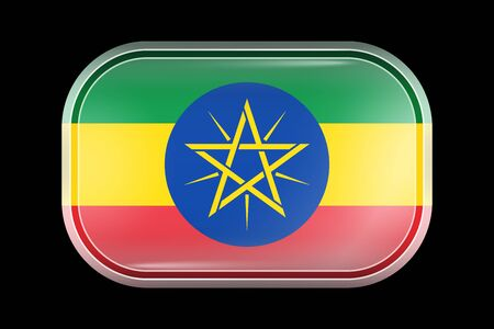 Flag of Ethiopia. Matted Vector Icon. Vector Rectangular Shape with Rounded Corners