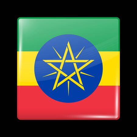 Flag of Ethiopia. Glossy Icon Square Shape. Vector Button