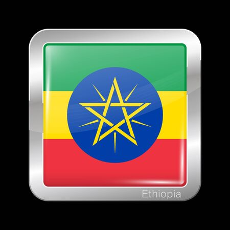 Flag of Ethiopia. Glossy and Metal Icon Square Shape. Vector Button