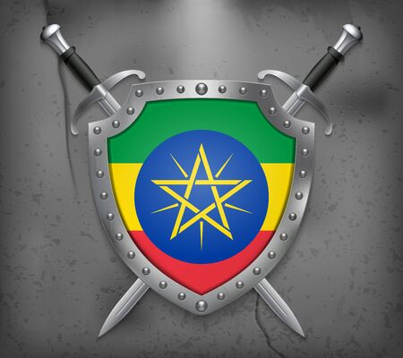 Flag of Ethiopia. The Shield with National Flag. Two Crossed Swords. Vector Medieval Background