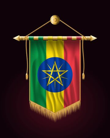 Flag of Ethiopia. Festive Vertical Banner. Wall Hangings with Gold Tassel Fringing