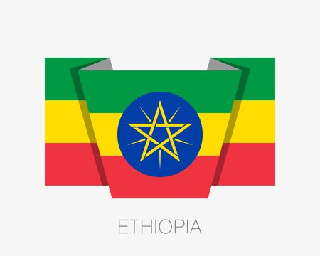 Flag of Ethiopia. Flat Icon Waving Flag with Country Name on White Background Çizim