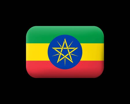 Flag of Ethiopia. Matted Vector Icon and Button. Rectangular Shape with Rounded Corners. Isolated