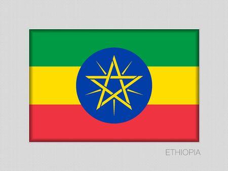 Bandera de Etiopía. Relación de aspecto de National Ensign 2 a 3 en cartón gris. Vector