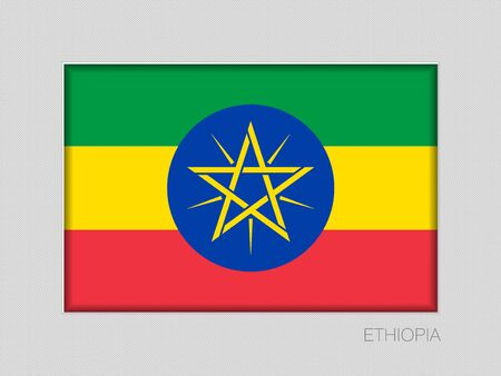 Flag of Ethiopia. National Ensign Aspect Ratio 2 to 3 on Gray Cardboard. Vector Illustration