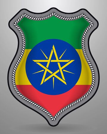 Flag of Ethiopia. Vector Badge and Icon. Horizontal Orientation Version. Isolated