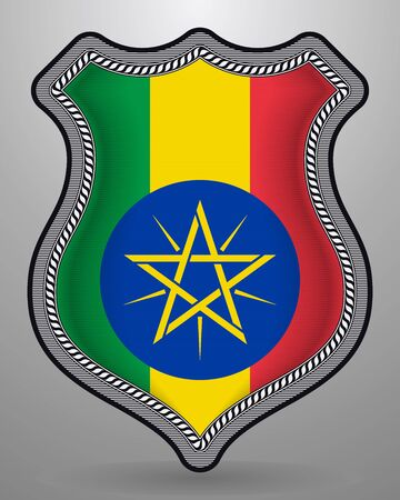 Flag of Ethiopia. Vector Badge and Icon. Vertical Orientation Version. Isolated