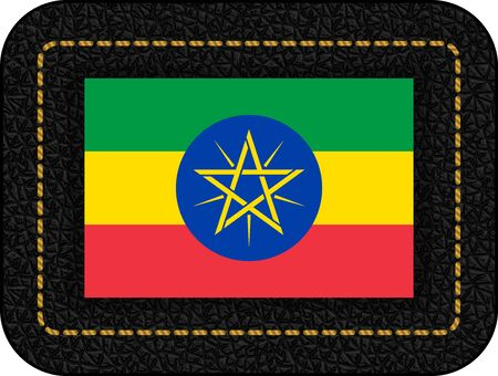 Flag of Ethiopia. Vector Icon on Black Leather Backdrop.