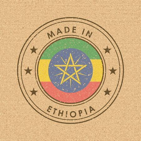 Flag of Ethiopia. Round Label with Country Name for Unique National Goods. Vector Isolated
