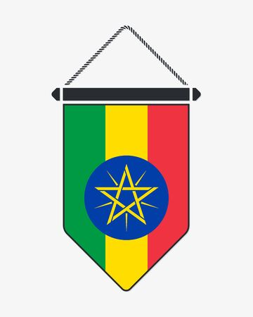 Flag of Ethiopia. Vector Sign and Icon. Vertical Pennant. Vector Isolated Çizim