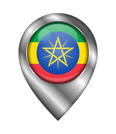 Flag of Ethiopia. Vector Sign and Icon. Location Symbol Shape. Silver. Isolated