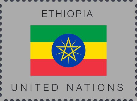Flag of Ethiopia. Vector Sign and Icon. Postage Stamp. Isolated