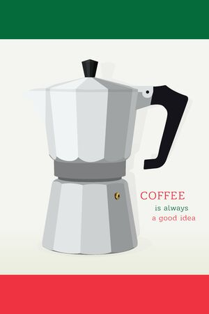 Moka Pot Realistic Vector. Traditional Italian Coffee Maker. Isolated on Italian Flag Colors