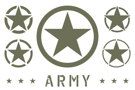 Set of Army Star Green Olive Color. Military Insignia Symbol, Badge, Label  イラスト・ベクター素材
