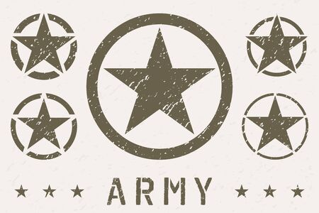 Set of Army Star Grunge Effect. Military Insignia Symbol, Badge, Label